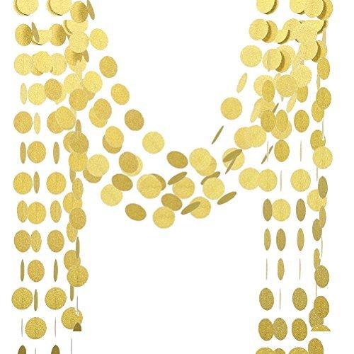 LUOEM Glitzer Papier Girlande Circle Dots Hanging Decor Gold Glitter Papier Banner für Hochzeit Brautduschen Geburtstagsfeier Baby Dusche Event Party