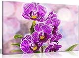 Lila Wall Art Orchidee Blumen Leinwand Kunstdruck Bild, violett, A4 31x20cm (12x8in)