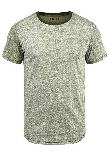 !Solid Tellion Herren T-Shirt Kurzarm Shirt Rundhalsausschnitt Aus Hochwertiger Baumwollmischung Meliert, Größe:L, Farbe:Deep Lich (3077)