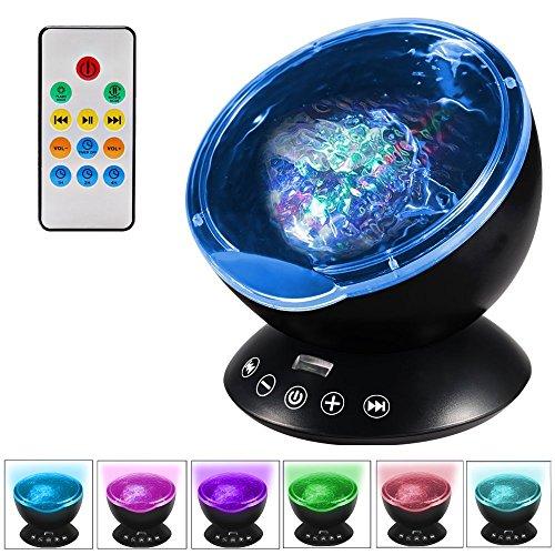 ALFALED Projektor Lampe Ozeanwellen Stimmungslicht 12LED 7 Farbe Modi Fernbedienung Timerfunktion Musikspieler Lautsprecherfunktion LED Projektor Nachtlicht