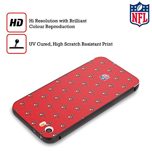 Ufficiale NFL Marmo 2017/18 Tampa Bay Buccaneers Nero Cover Contorno con Bumper in Alluminio per Apple iPhone 5 / 5s / SE Pattern