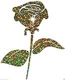 Bügelbild Rose/Blume, Glitzerstoff, zum Selbstmachen, Party, T-Shirt, Transfer-Aufnäher gold