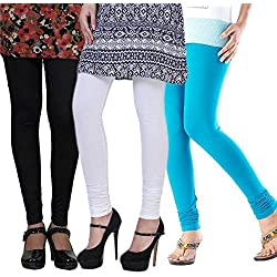 Women's Cotton Lycra Leggings Combo Pack of 3 (Black, White and Sky Blue)