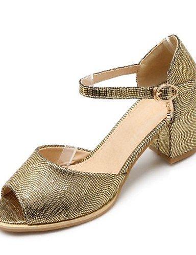 LFNLYX Chaussures Femme-Extérieure / Bureau & Travail / Décontracté-Rose / Argent / Or-Gros Talon-Bout Ouvert-Sandales-Matières Personnalisées Pink