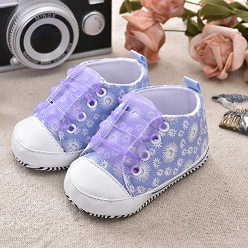 Zhuhaitf Ausgezeichnet Toddler Sneaker Baby Girls Anti-slip Soft Soled Floral Canvas Shoes Purple