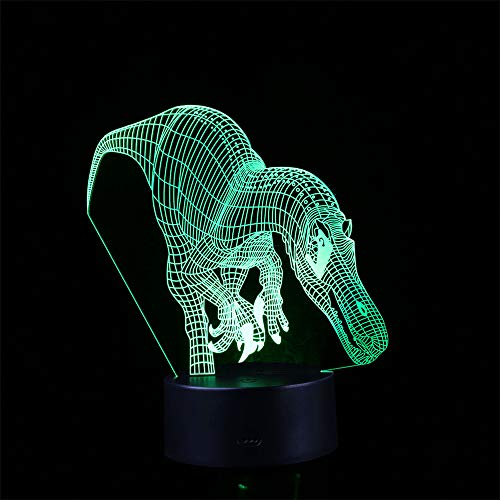Regalo de los niños Cool 3D Night Light Dinosaurio 7 Color Touch...