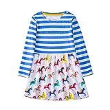 Mooler Mädchen Rundhalsausschnitt Langarm Casual Kleid Streifen Pony Muster T-Shirt-Kleid