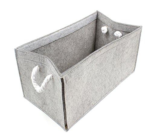Seil, Stoff Handtaschen (Luxflair Hochwertige Filz Aufbewahrungsbox Graumeliert mit Seil-Griffen (+weitere Farben) 45x25x23cm. Regalbox, Kaminholzbox, Zeitungskorb, waschbar bei 30°)
