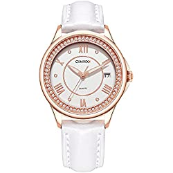 COMTEX Woman's Watch with White Strap and Rose Gold Case Fashion Watch