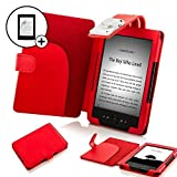 ForeFront Cases® Funda cubierta de cuero sintético para con luz LED para lectura color rojo, CasePara el Nuevo Amazon Kindle 4, pantalla de E Ink de 6