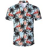 AIDEAONE Herren Freizeit Flamingo Hemden Kurzarm Sommerhemd Lässige Hawaii Aloha Hemd