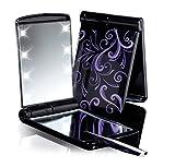 NEU mit 8 LED Lampen Taschenspiegel Kosmetikspiegel Lila/Schwarz mit 8 LED Leuchten und Pinzette