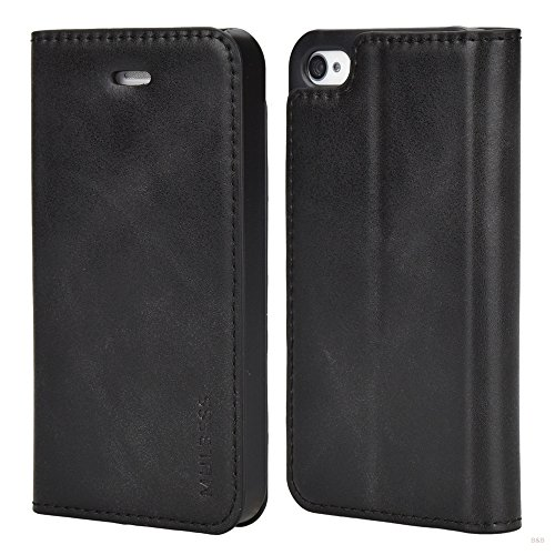 Mulbess iPhone 4s Hülle Leder, Leder Flip Tasche mit Bookstyle für iPhone 4s and iPhone 4 Handy Hülle Leder, Schwarz Iphone 4s Leder