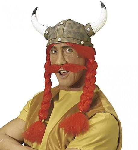 shoperama Gallier Helm mit Zöpfen und Schnurrbart für Obelix Kostüm Erwachsene Perücke