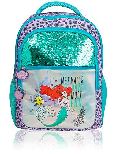 Mochila Disney Para Niñas | Mochila Infantil Con La Sirenita Ariel, El Castillo De Disney, Lentejuelas Y Diseño Holográfico | Con Bolsillos Delanteros, Laterales, Para La Escuela O Viajes