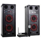 Karaoke-Anlage STAR-Wedding PA Boxen Funk Mikro (600W, USB/SD, 100 Reichweite) rot-schwarz