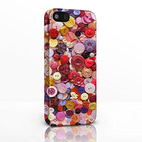 Handyschalen für iPhone-Serie, Motive: Nähen, Stricken, Häkeln, Textil, Kurzwaren,–12Designs zur Auswahl Hüllen mit Vollbild-Design aus Hartplastik von icasedesigner., plastik, Red Pink & Purple Buttons, Für iPhone 5 / 5S