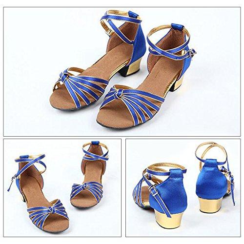 Eastlion Ballsaal Salsa Tango Schuhe Latin Dance Schuhe Tanz Sandalen für Frauen und Mädchen Praxis Blau