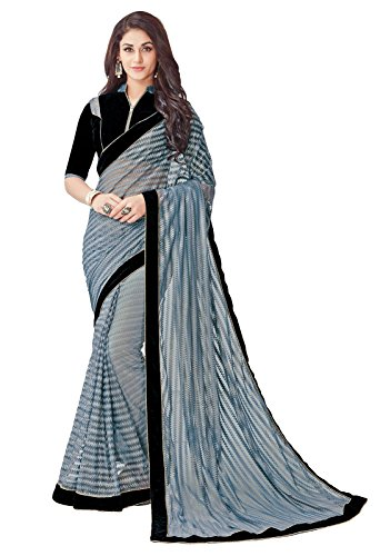 Grey net embroidered fashionable saree