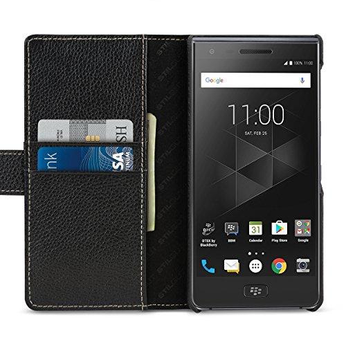 StilGut Talis Schutz-Hülle für BlackBerry Motion mit Kreditkarten-Fächern aus echtem Leder. Seitlich aufklappbares Flip Case in Handarbeit gefertigt für das BlackBerry Motion, Schwarz