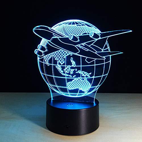 Täuschung Tischlampe / 7 wechselnden Farben Touch Nachtlicht Schreibtischlampe/Kinder Geburtstag Weihnachtsgeschenk/Globe Flugzeug ()