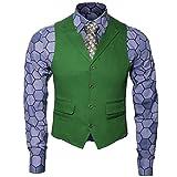 Nofonda Herren Joker Kostüm Hemd Weste Krawatte Anzug Outfit Set Ritter Gangster Verkleidung Halloween Cosplay Accessories für Erwachsene (XXL, 3-tlg.Set)