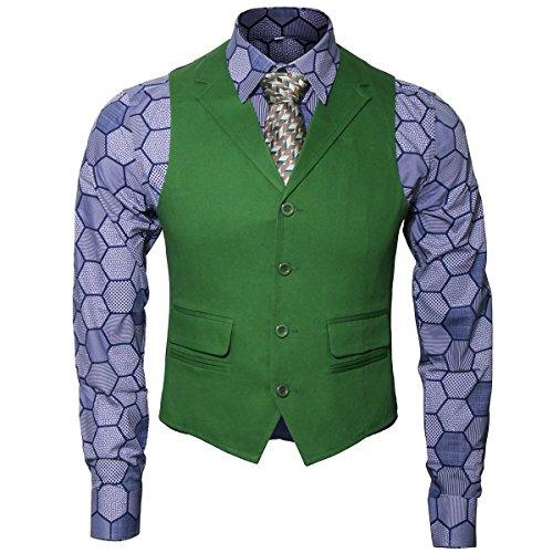 Herren Joker Kostüm Hemd Weste Krawatte Anzug Outfit Set Ritter Gangster Verkleidung Halloween Cosplay Accessories für Erwachsene (S, 3-tlg.Set)
