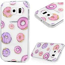 YOKIRIN Funda para Samsung Galaxy S6 TPU, Transparente Cristal Suave Carcasa Cáscara Cover Case Estilo Sensillo y Elegante Ultra Slim Thin Silicona Gel - funda donuts
