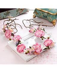 Couronne de coiffure de mariée douce, couronne de fleurs roses, bijoux en robe
