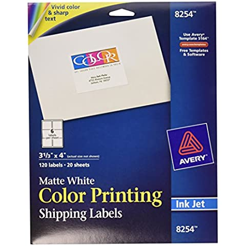 Inkjet Labels for Color Printing, 3-1/3 x 4, Matte White,