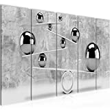 Bilder 3D Kugeln Wandbild 150 x 60 cm Vlies - Leinwand Bild XXL Format Wandbilder Wohnzimmer Wohnung Deko Kunstdrucke Grau 5 Teilig - MADE IN GERMANY - Fertig zum Aufhängen 504356b
