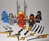 Lego Ninjago Figuren 5er Set Figuren ( NYA Kai Jay Zane und Cole )und Waffenständer und bmg2000 Aufkleber