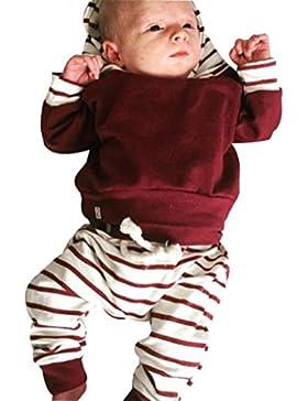 QinMM Babykleidung 2pcs Kleinkind Säuglingsbaby Kleidung stellte gestreifte Hoodie Tops + Hosen Outfits ein (0...