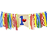Ecore Fun First Birthday Party Decoration Supply Burlap High Chair Banner Bunting for Baby Boy - Elmo Theme