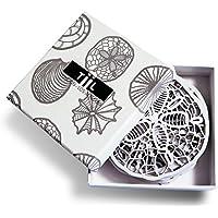 Sottobicchieri da tiil. Ricercato Designer Coaster Set di 6Plus Confezione Regalo, Colore: Bianco