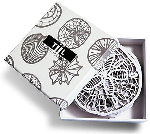 Getränke Untersetzer von TiiL. Muschelinspiriertes Designer Untersetzer-Set aus 6 Untersetzern mit Geschenkbox (Weiß)