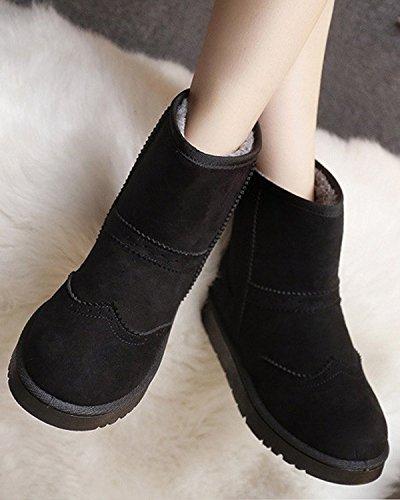 Minetom Femmes Hiver Coton Chaud Bottes De Neige Chaussures Plates Antidérapantes Bottes Brogue Bottes Noir