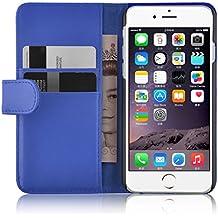 CloudSeller iPhone 4y 4S PREMIUM PU Funda de piel tipo libro con compartimentos para tarjetas de crédito ®, piel sintética, azul, iPhone 4/4S