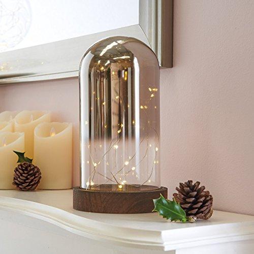 Cloche Lumineuse Dome en Verre Teinté Effet Miroir sur Socle en Bois Foncé avec Micro Guirlande Métal 20 LED à Piles 25cm x 14cm