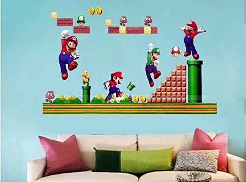 Set Super Mario Bros Zusammensetzung Entfernbare Wandaufkleber Aufkleber Kinder Wohnkultur
