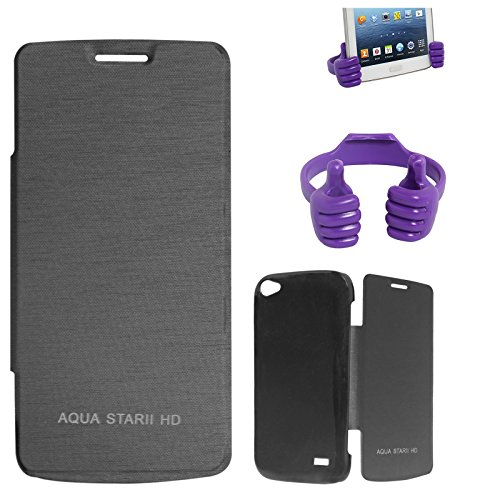 DMG Premium Diary Flip Book Cover Case for Intex Aqua Star II HD (Black) + Mobile Holder Hand Stand