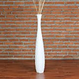 Leewadee Jarrón de Suelo 75 cm, Madera de Mango, Blanco