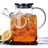 Historia de cerámica jarra de agua jarra de cristal de borosilicato, té helado y zumo jarra, jarra de agua, vidrio, transparente, 1600ml