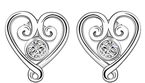 SaySure - Jewelry Silver Plated heart Earrings