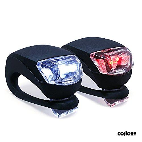 Collory mini LED Silikon-Leuchte 2er-Set inkl. Batterien | Kinderwagen-Beleuchtung | Rollstuhl-Licht | Blink-Lampe | Sicherheitsbeleuchtung | Wasserfest | einfache Montage: Clip-On