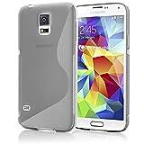 Samsung Galaxy S5 Mini Hülle Handyhülle von NALIA, Ultra-Slim Silikon Case, Dünne Crystal Schutzhülle, Etui Handy-Tasche Back-Cover Bumper, TPU Gummihülle für Samsung S5 Mini Phone - S-Line Grau