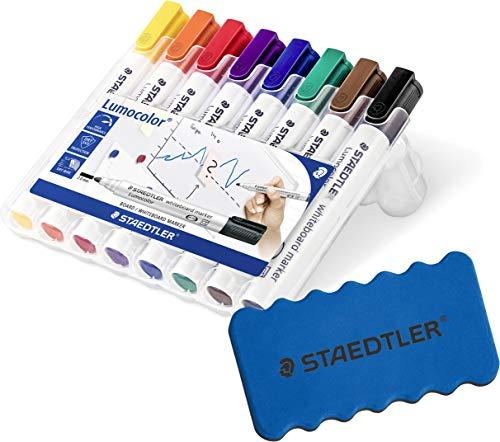 Staedtler 351 WP8 Lumocolor Whiteboardmarker, 8 Stück in aufstellbarer Staedtler Box, farblich sortiert im Bonus Pack mit Whiteboardlöscher (8er Marker Set + Löscher grün) -