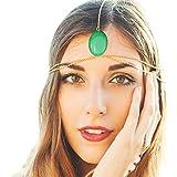 Q&Q Fashion Blogger Fav Green Faux Stone Tikka Crown Chain Head Hair Dress Headband Hairband