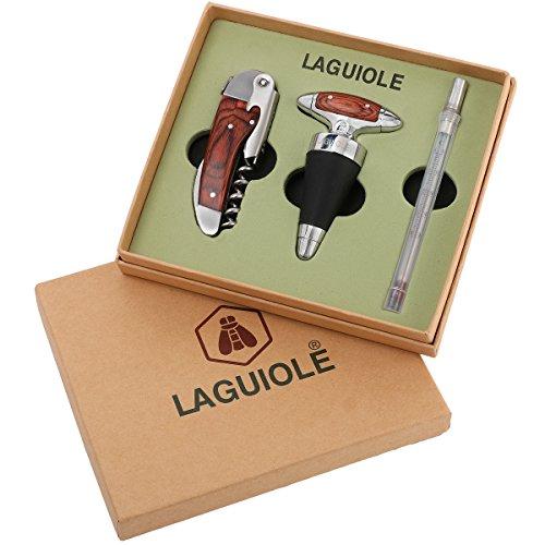 Wein-Öffner Set von Laguiole mit Kellnermesser, Thermometer und Flaschen-Verschluss 3-teiliges Geschenk-Set Korkenzieher, Weinverschluss, Küchen-Thermometer