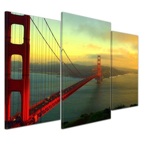 Wandbild - Golden Gate Bridge - San Francisco II - Bild auf Leinwand - 100x60 cm 3 teilig - Leinwandbilder - Bilder als Leinwanddruck - Städte & Kulturen - Amerika - USA - Brücke in Kalifornien